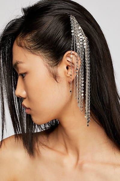 Asian girl with hanging hair accessory