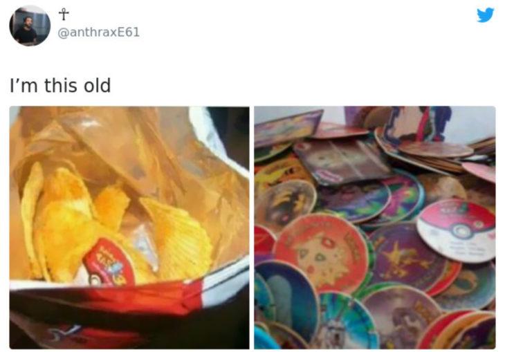 Artículos vintage que te harán sentir viejo; papas con tazos de Pokémon