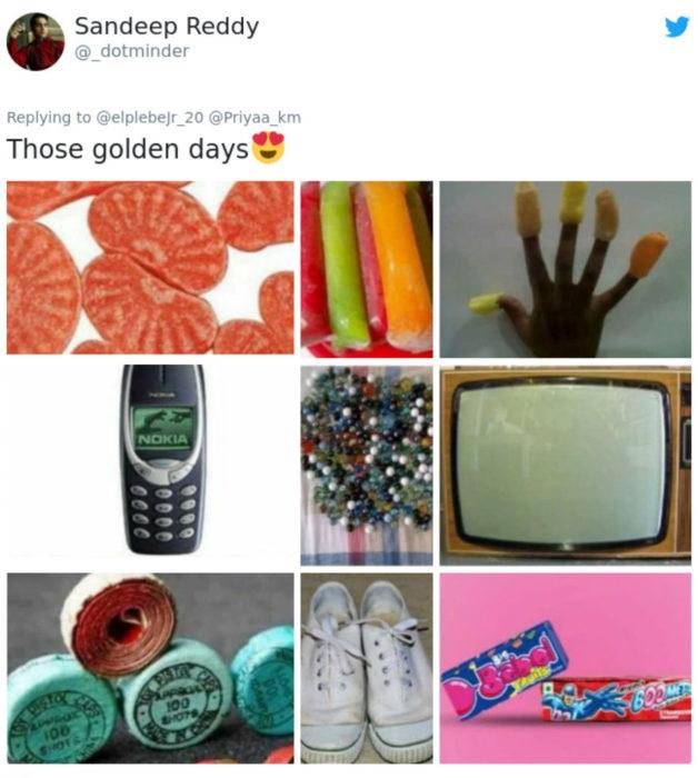 Artículos vintage que te harán sentir viejo; gomitas de gajo, bolis, celular nokia, canicas, televisor viejo, converse y dulces de los 90