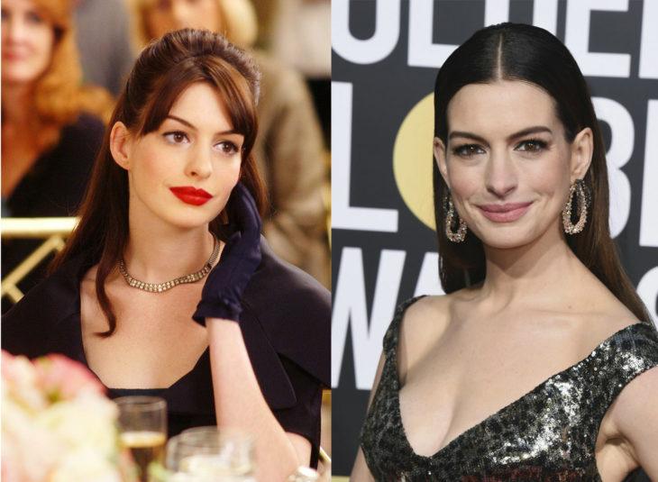 Antes y después de los personajes de El diablo viste a la moda. Andrea Sachs interpretada por Anne Hathaway
