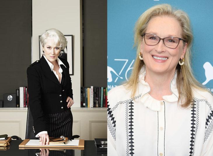 Miranda Priestly interpretada por Meryl Streepantes y después de El diablo viste a la moda