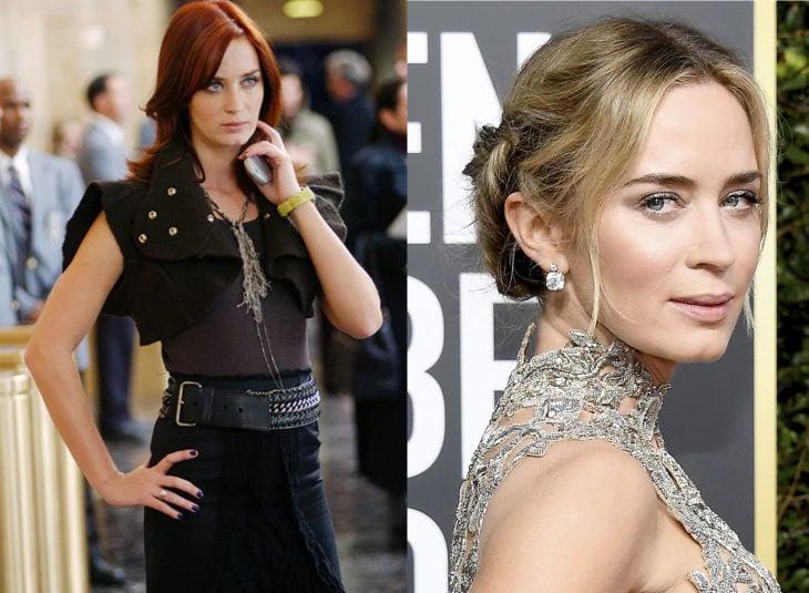 Emily interpretada por Emily Blunten el diablo viste a la moda, antes y ahora