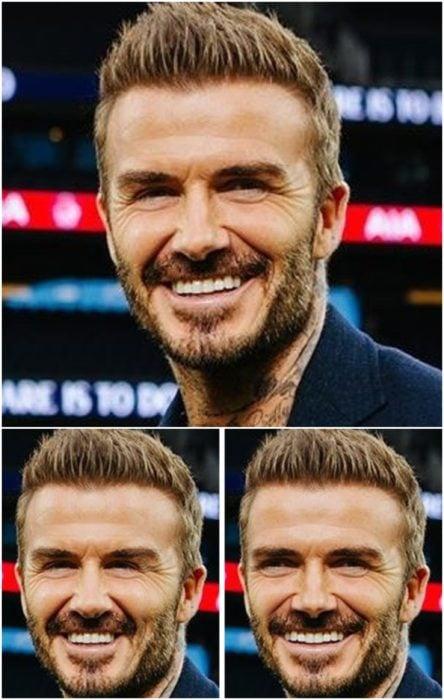 David Beckham sonriendo, llevando un saco azul marino, comparación de su rostro simétrico en izquierda y derecha