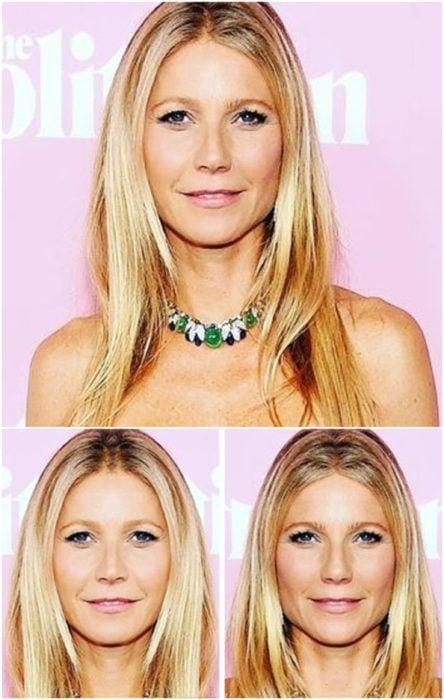 Gwyneth Paltrow comparación de su rostro simétrico en izquierda y derecha en una alfombra roja llevando un collar de piedras verdes