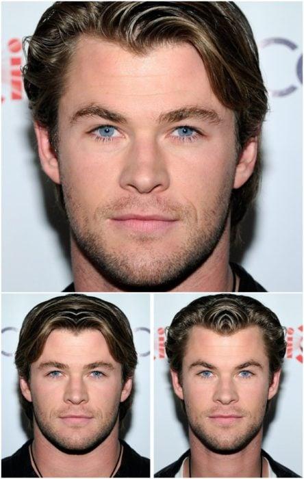 Chris Hemsworth comparación de su rostro simétrico en izquierda y derecha, e una alfrombra roja de Guardianes de la galaxia de Marvel