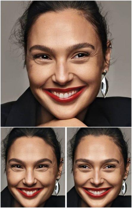 Gal Gadot con labial rojo, sonriendo, comparación de su rostro simétrico en izquierda y derecha