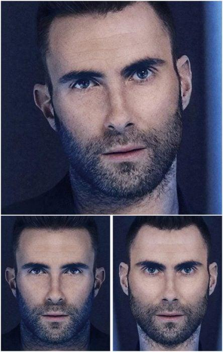 Adam levine comparación de su rostro simétrico en izquierda y derecha