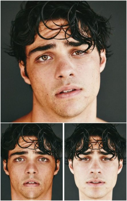 Noah Centineo comparación de su rostro simétrico en izquierda y derecha, con cabello de aspecto húmedo