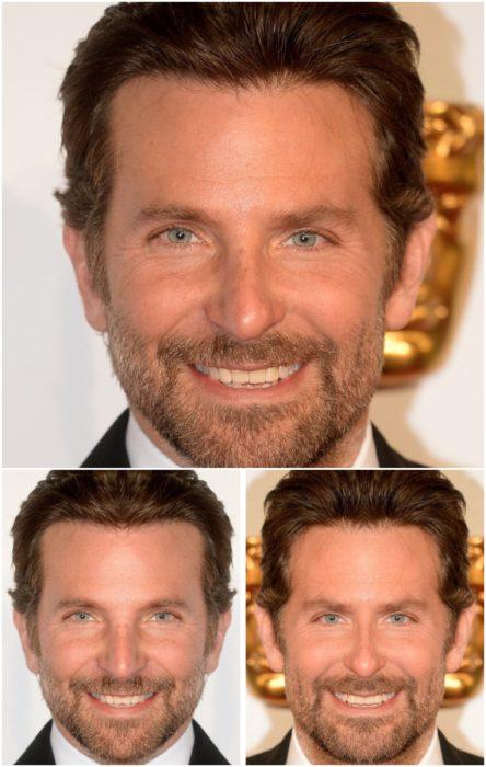 Bradley Cooper comparación de su rostro simétrico en izquierda y derecha, sonriendo en una entrega de premios Óscar