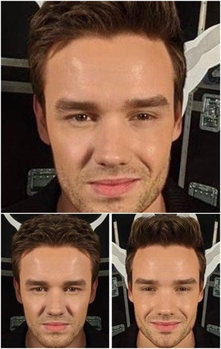 Liam Payne comparación de su rostro simétrico en izquierda y derecha sinriendo ligeramente en un evento de beneficencia