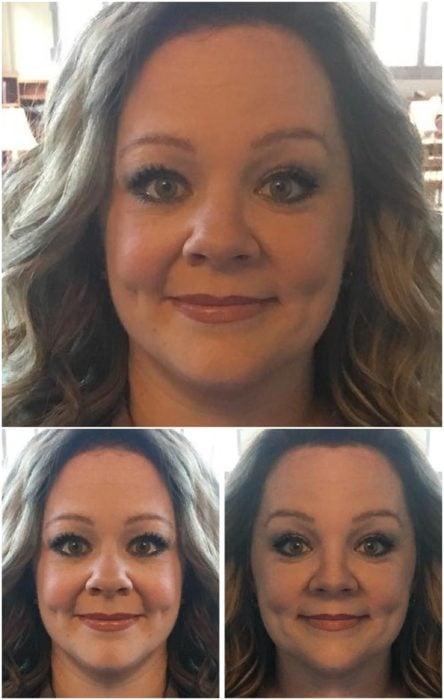 Melissa McCarthy comparación de su rostro simétrico en izquierda y derecha
