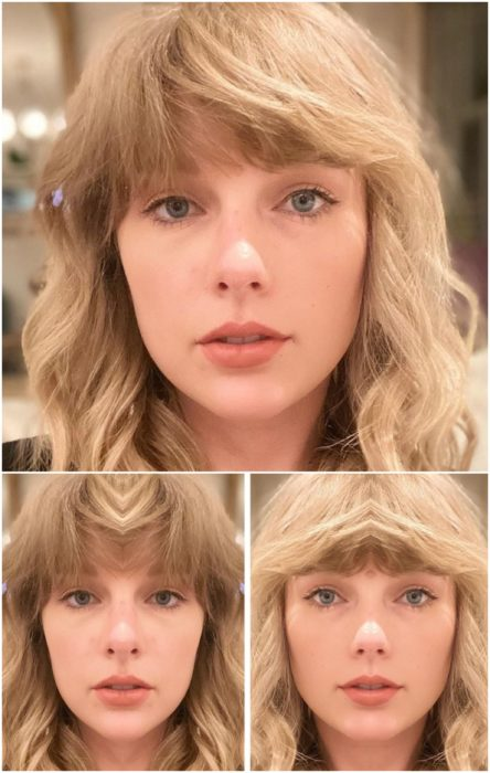 Taylor Swift comparación de su rostro simétrico en izquierda y derecha con cabello corto a melena