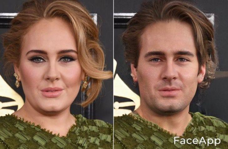 Adele si fuera hombre FaceApp