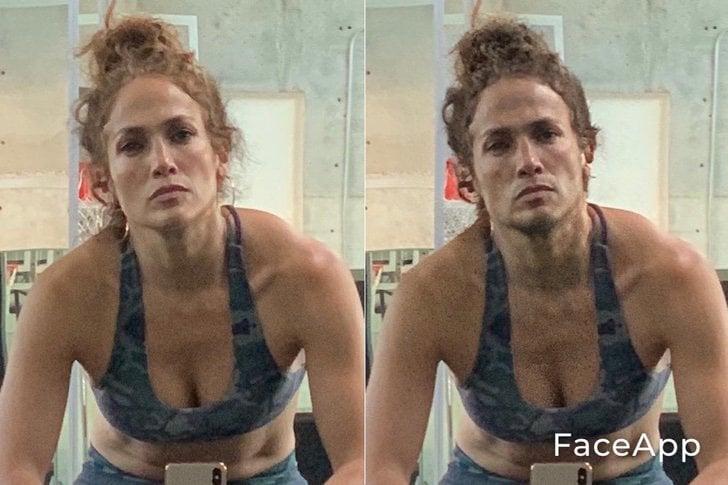 Jennifer Lopez si fuera hombre FaceApp
