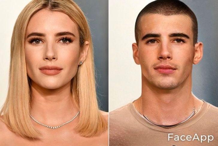 Emma Roberts si fuera hombre FaceApp