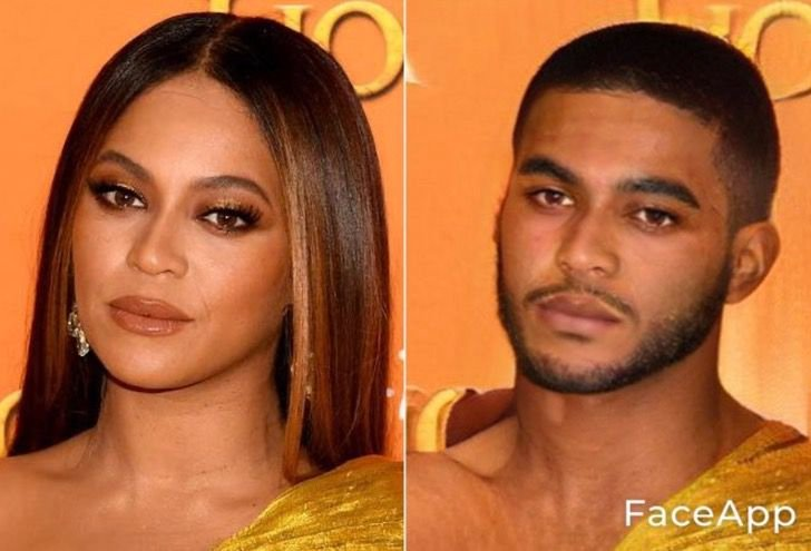 Beyonce si fuera hombre FaceApp
