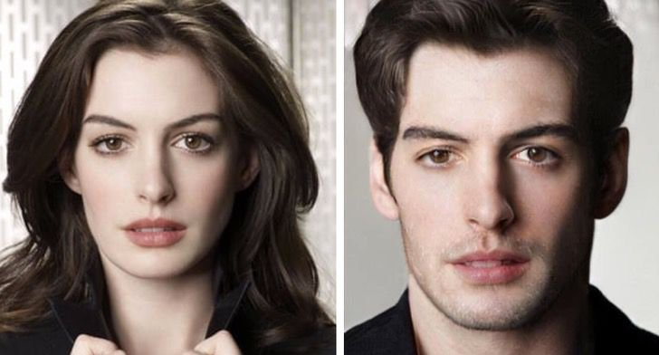 Anne Hathaway si fuera hombre FaceApp