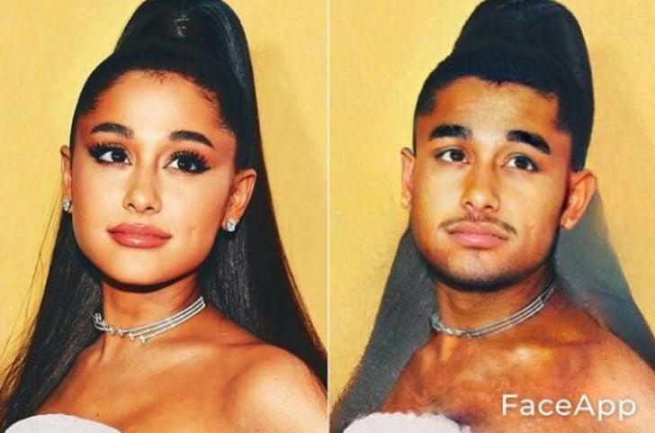 Ariana Grande si fuera hombre FaceApp