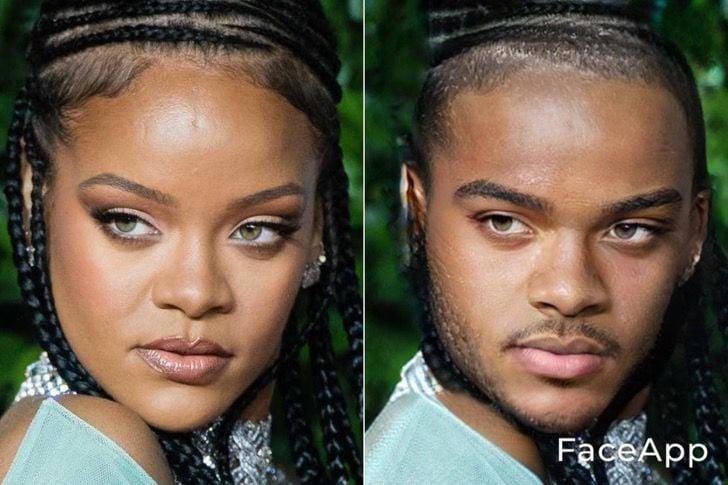 Rihanna si fuera hombre FaceApp