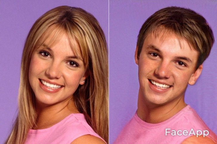 Britney Spears si fuera hombre FaceApp