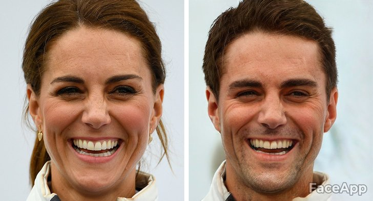 Kate Middleton si fuera hombre FaceApp