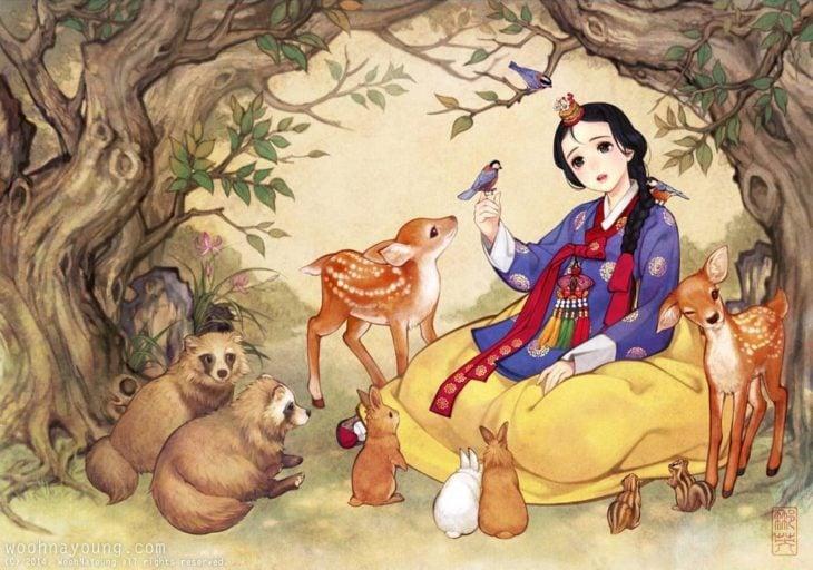 Ilustración digital de Blancanieves