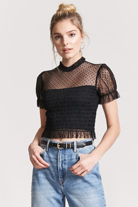 Black blouse with transparencies