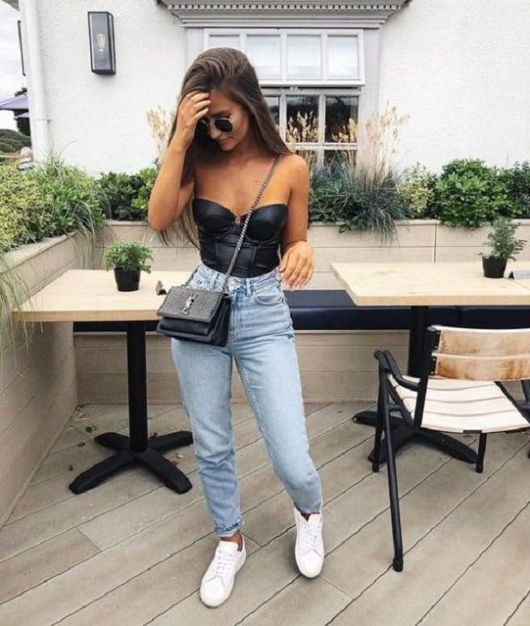 Black bustier blouse