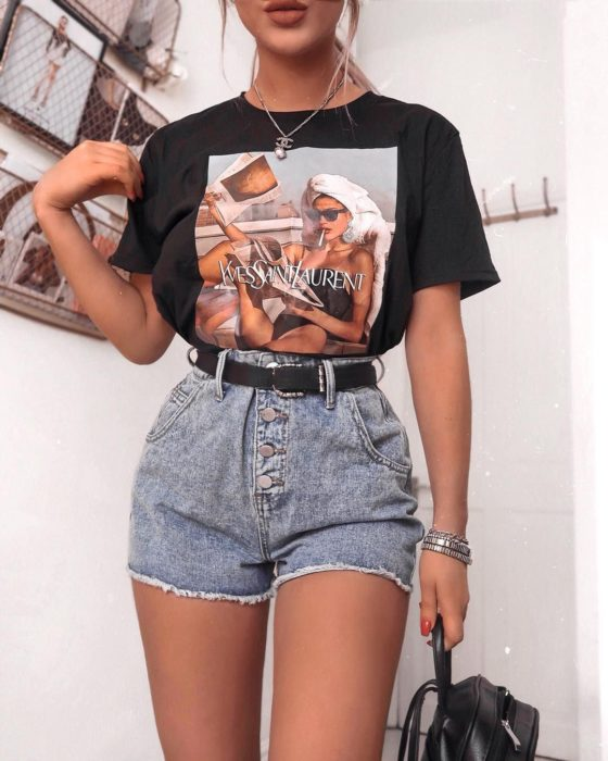 Black blouse with print