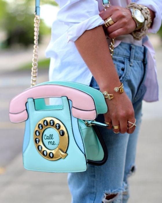 Bolsas kawaii bonitas y originales; bolso de teléfono de disco rosa con azul