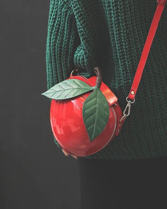 Bolsas kawaii bonitas y originales; bolso de mano de manzana roja