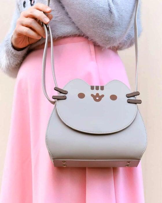 Bolsas kawaii bonitas y originales; bolso de mano de gato gris Pusheen