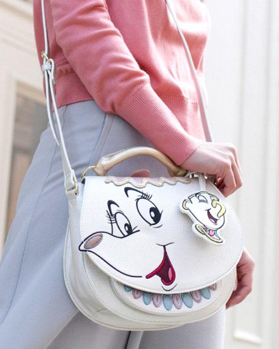 Bolsas kawaii bonitas y originales; bolso de mano de la señora Potts de La Bella y la Bestia