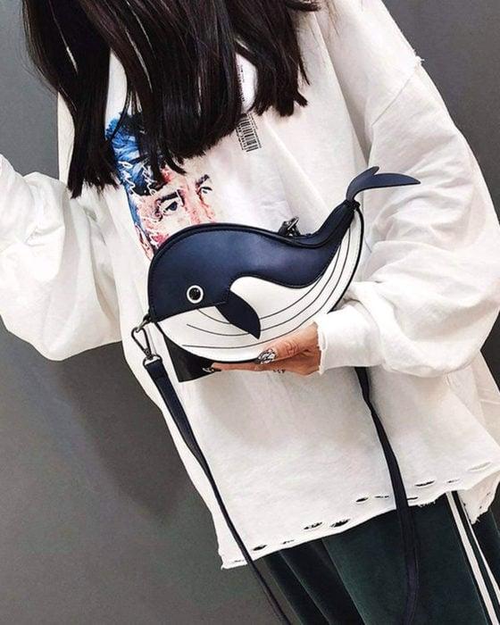 Bolsas kawaii bonitas y originales; bolso de mano de ballena negra, orca
