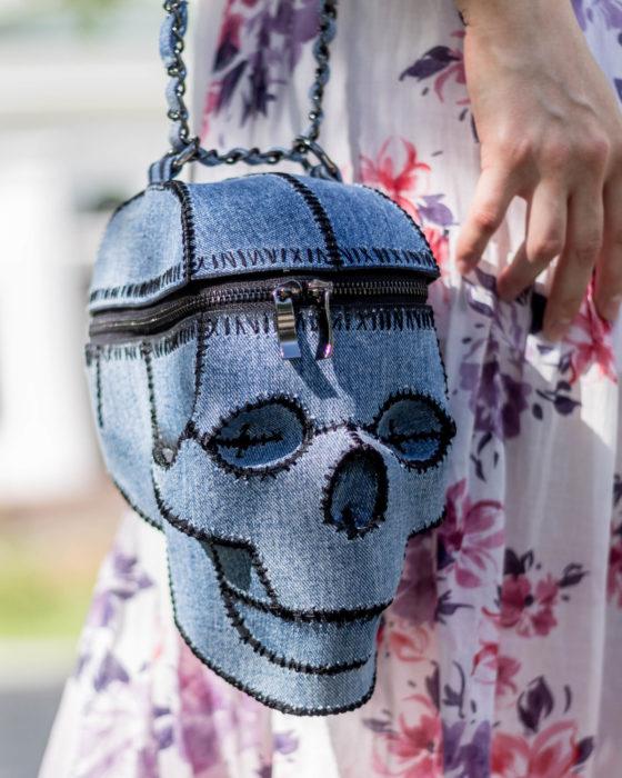 Bolsas kawaii bonitas y originales; bolso de mano de mezclilla en forma de calavera