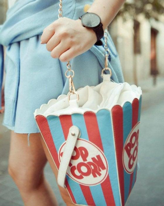 Bolsas kawaii bonitas y originales; bolso de mano en forma de palomitas de cine
