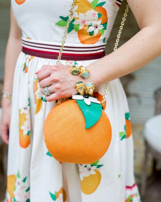 Bolsas kawaii bonitas y originales; bolso de mano en forma de naranja