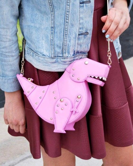 Bolsas kawaii bonitas y originales; bolso de mano de dinosaurio rosa, tiranosaurio rex