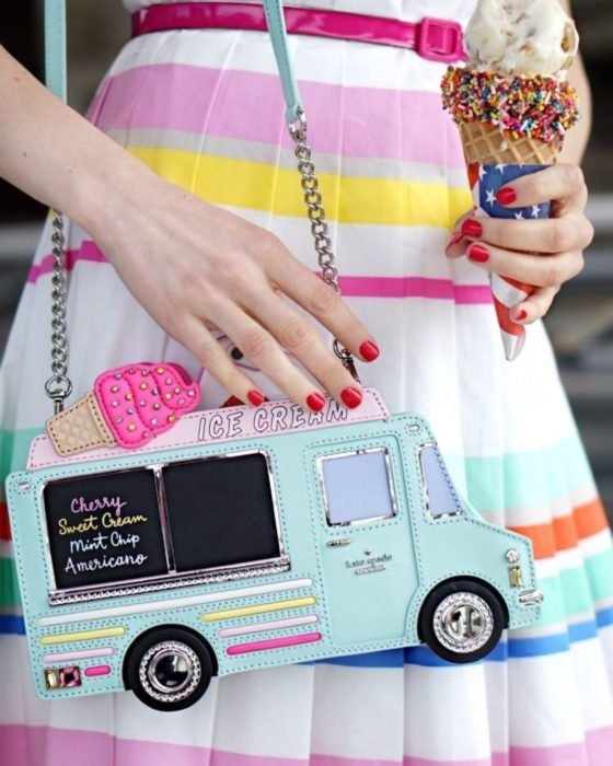 Bolsas kawaii bonitas y originales; bolso de mano de camión de helados