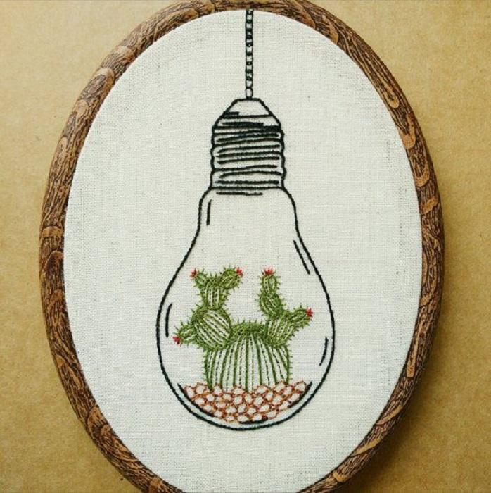 Bordado en aros de plantas