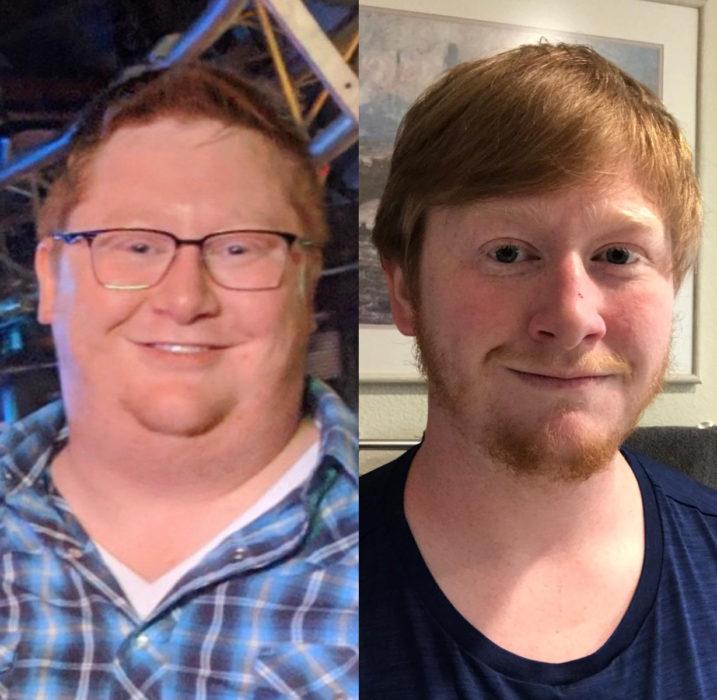 Chico pelirrojo antes y después de bajar de peso