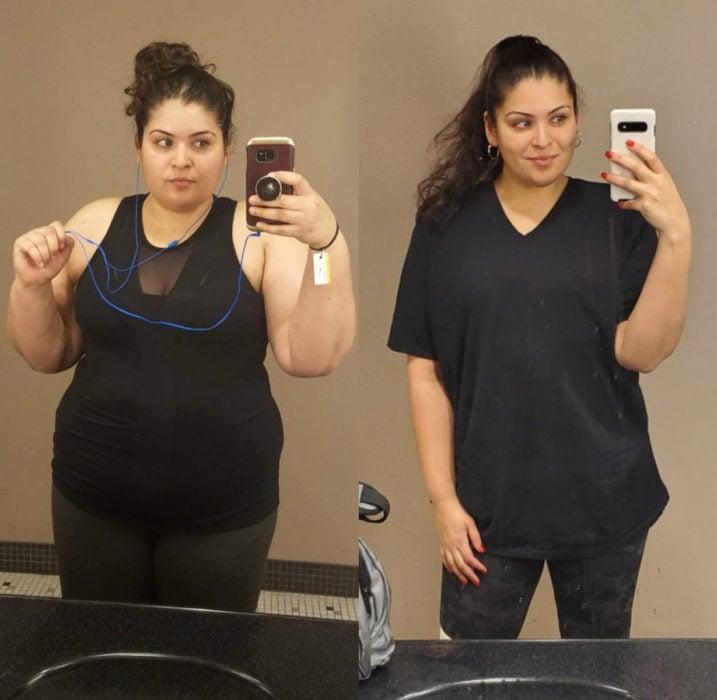 Chica tomándose foto frente al espejo antes y después de bajar de peso
