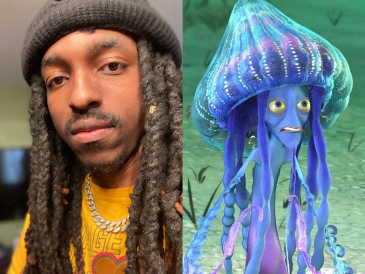 Personas que se parecen a personajes de películas animadas; Shark tale, El espantatiburones, medusas, Ernie y Bernie