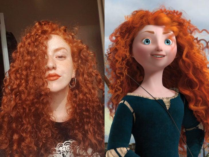 Personas que se parecen a personajes de películas animadas; Mérida, Valiente