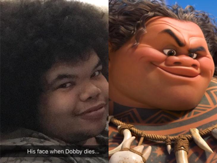 Personas que se parecen a personajes de películas animadas; Moana, Maui