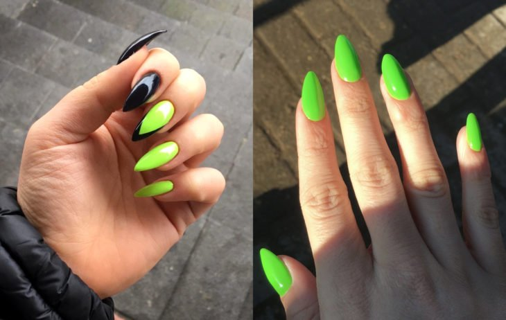Manicure colors; green lime