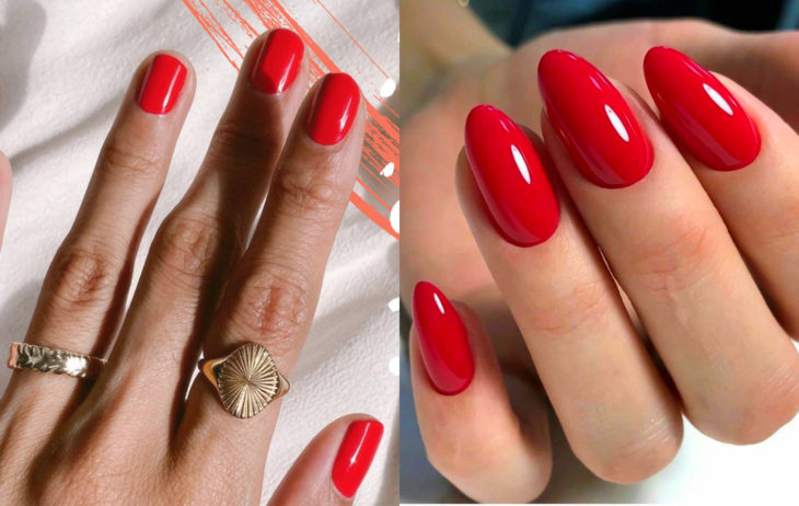 Manicure colors; poppy red