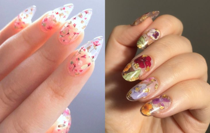 Manicure colors; transparent nails with flowers