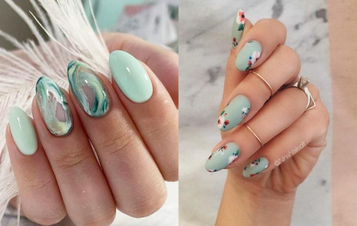 Colores de manicura; verde menta