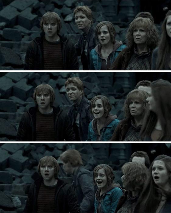 Fred y George en la escena final de Harry Potter